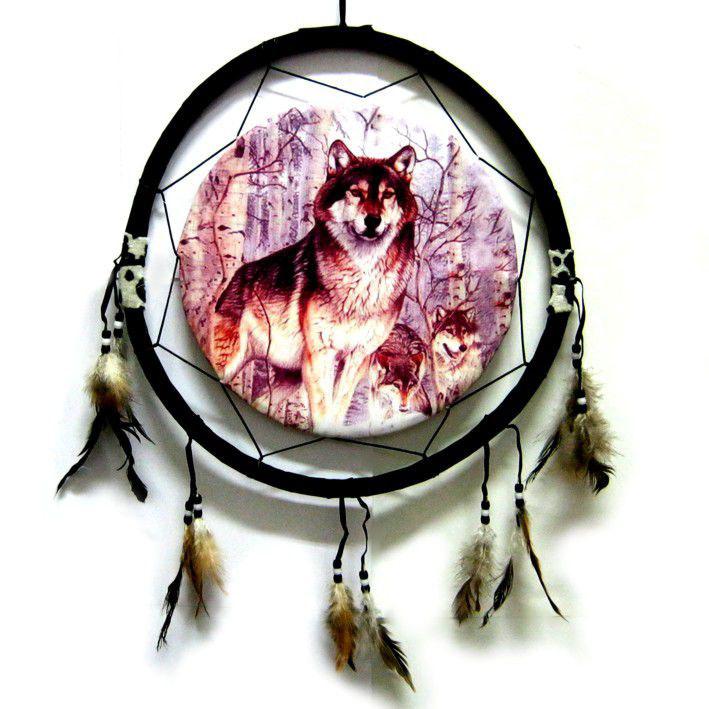 Ловец снов с картинкой волка